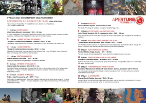 Experiential Ethnographic Films Program – Screening schedule
